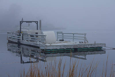 Comedian Drawings - Foggy Barge Reflection by Kirkodd Photography Of New England