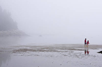 Art Print featuring the photograph Foggy Beach by Arkady Kunysz