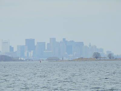 Foggy Boston Skyline Art Print