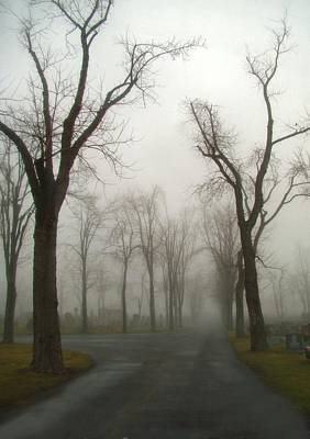 Foggy Cemetery Road Art Print