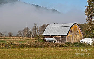 Photograph - Foggy Country Morning With Barn by Valerie Garner