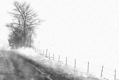 Trees In Snow Drawing - Foggy Country Road by Rosemarie E Seppala