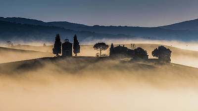 Chapel Photograph - Foggy Dawn In Val D'orcia by Robert Debreczeni
