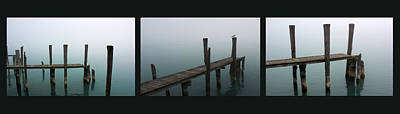 Photograph - Foggy Dock Collage 1 by Mary Bedy