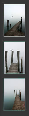 Photograph - Foggy Dock Collage 2 by Mary Bedy