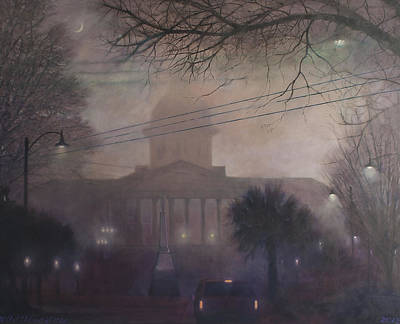 Capitol Building Painting - Foggy Dome by Blue Sky
