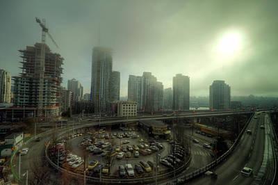 Foggy Downtown Vancouver Art Print by Eti Reid