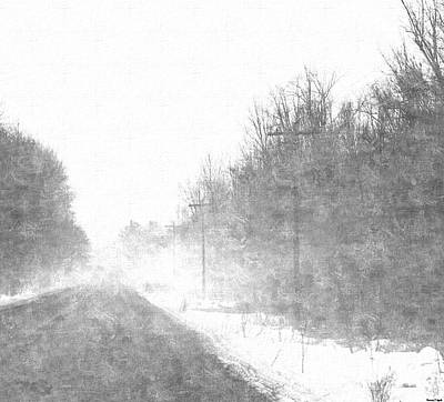 Trees In Snow Drawing - Foggy Eleven Mile Road Newaygo County Michigan by Rosemarie E Seppala