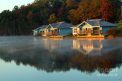 Photograph - Foggy Fall Morning On The Lake by Sandra Clark