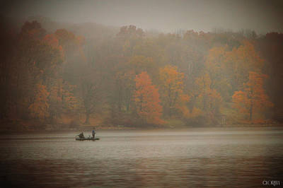 Photograph - Foggy Fishing by Lorella  Schoales