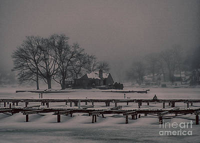 Photograph - Foggy Frozen Island On The Lake by Mark Miller