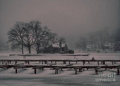 Jefferson Island Photograph - Foggy Frozen Island On The Lake by Mark Miller
