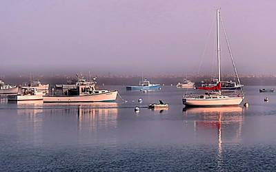 Photograph - Foggy In Plymouth Ma Harbor by Janice Drew