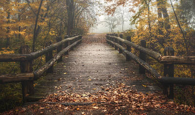 Red Leaves Photograph - Foggy Lake Park Footbridge by Scott Norris