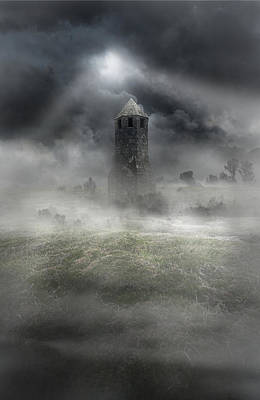 Foggy Landscape With Dark Tower Print by Jaroslaw Blaminsky