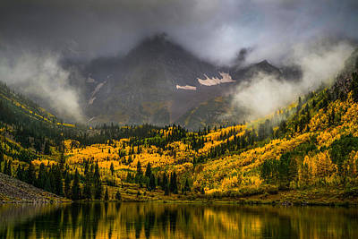 Autumn Leaf Photograph - Foggy Maroon Bells by Peter Irwindale