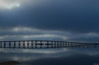 Print featuring the photograph Foggy Mirrored Navarre Bridge At Sunrise by Jeff at JSJ Photography