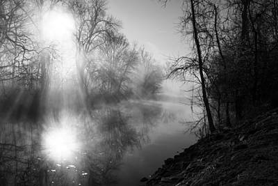 Foggy Misty Morning Sunrise On James River Art Print