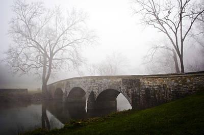 Foggy Morning At Burnside's Bridge Art Print by Brent Spithaler