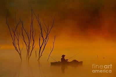 Foggy Morning Fisherman Art Print by Elizabeth Winter