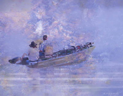 Digital Art - Foggy Morning Fishermen by J Larry Walker