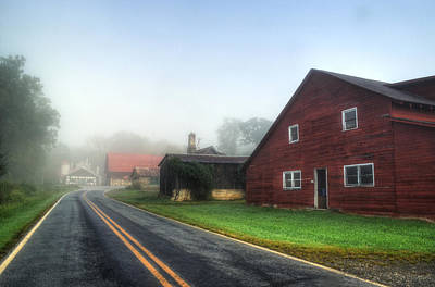 Yellow Photograph - Foggy Morning In Brasstown Nc by Greg and Chrystal Mimbs