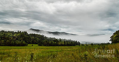 Art Print featuring the photograph Foggy Morning In The Mountains. by Debbie Green