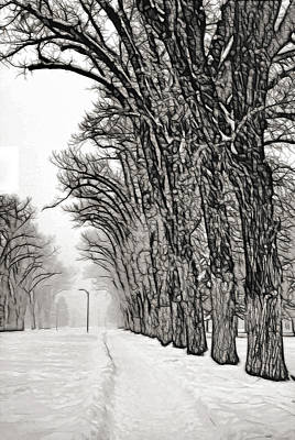 In A Row Mixed Media - Foggy Morning Landscape - Fractalius 7 by Steve Ohlsen
