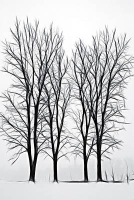 Foggy Morning Landscape - Fractalius  Print by Steve Ohlsen