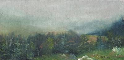 Franconia Notch Painting - Foggy Morning On Cannon by Sharon E Allen