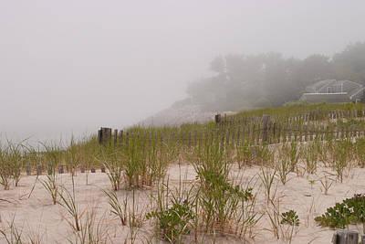 Shark Art - foggy morning on Chatham beach by Jeff Folger