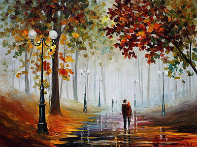 Poland Painting - Foggy Morning - Palette Knife Contemporary Landscape Oil Painting On Canvas By Leonid Afremov - Size by Leonid Afremov