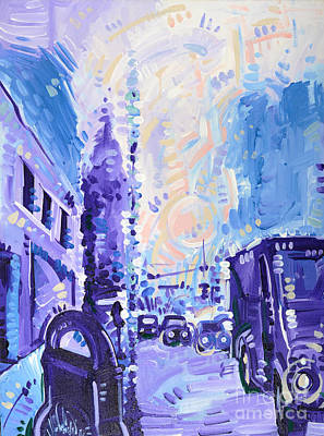 Parking Painting - Foggy Morning Walk Down Easton by Michael Ciccotello