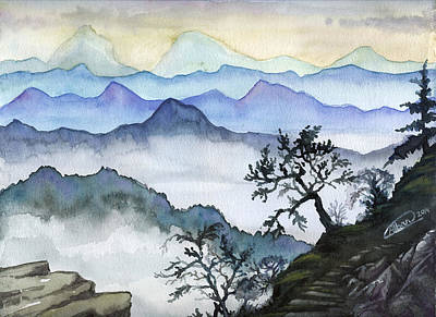 Painting - Foggy Mountaines Sunset View  by Alban Dizdari