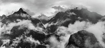 Foggy Mountains Around Machu Picchu Art Print