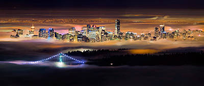 Lions Gate Bridge Photograph - Foggy Night by Alexis Birkill