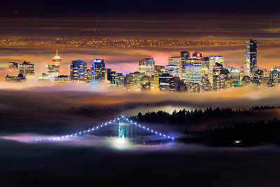 Lions Gate Bridge Photograph - Foggy Night Crop by Alexis Birkill