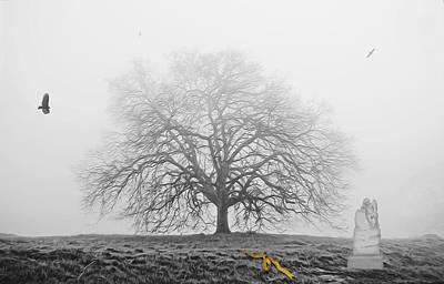 Photograph - Foggy Oak Tree by Wes Jimerson