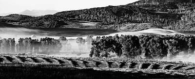 Photograph - Foggy Ranch Sunrise B.w. by John McArthur