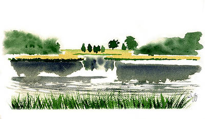 Cape Cod Painting - Foggy Salt Marsh Cape Cod by Paul Gaj