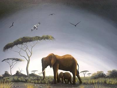 Painting - Foggy Savannah by Hilton Mwakima