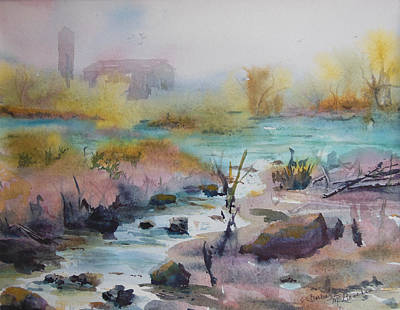 Foggy Stream Art Print by Barbara McGeachen