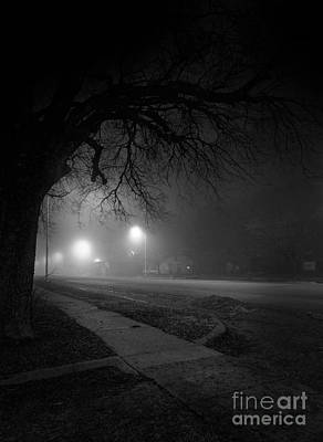 Photograph - Foggy Street In Rural America At Night by Art Whitton