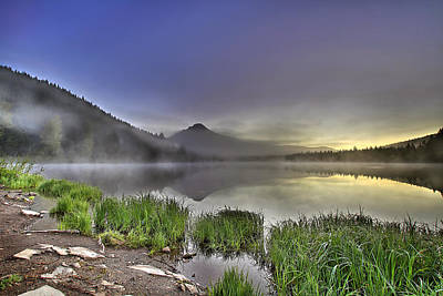 Hiking Photograph - Foggy Sunrise At Trillium Lake With Mount Hood by David Gn