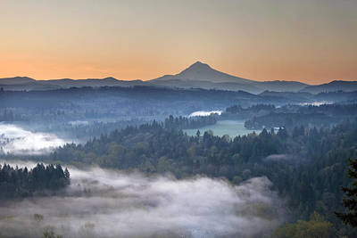 Art Print featuring the photograph Foggy Sunrise Over Sandy River And Mount Hood by JPLDesigns