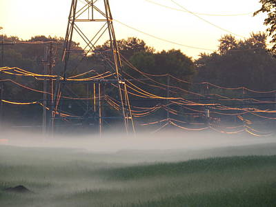 Art Print featuring the photograph Foggy Sunrise Wires by Nikki McInnes