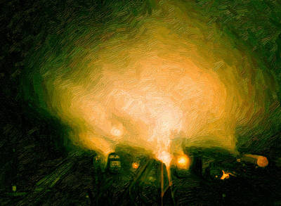 Digital Art - Foggy Switchyard by Chuck Mountain