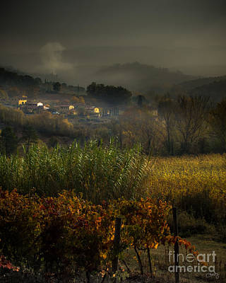 Foggy Tuscan Valley  Art Print