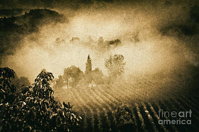 Print featuring the photograph Foggy Tuscany by Silvia Ganora