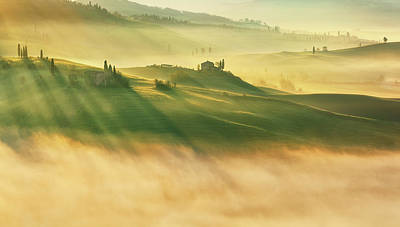 Light Beams Photograph - Foggy Valley... by Krzysztof Browko